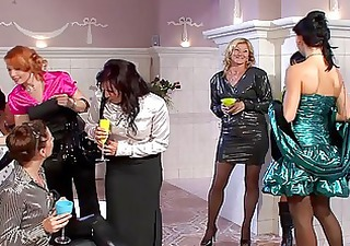 marvelous milfs in sexy dresses having group sex